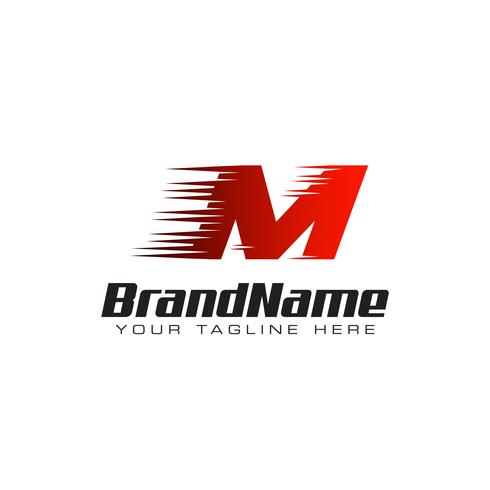 Letter Initial M Speed Logo Design Template vector