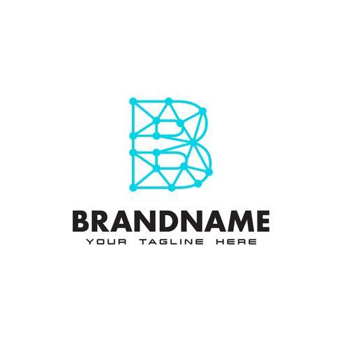 Logotipo de conexão de rede letra B ponto Design Template vetor