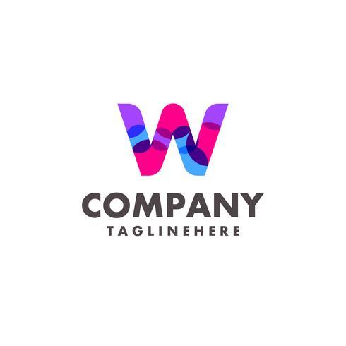 abstrakt färgstarkt brev W logotyp design för företag med modern neonfärg