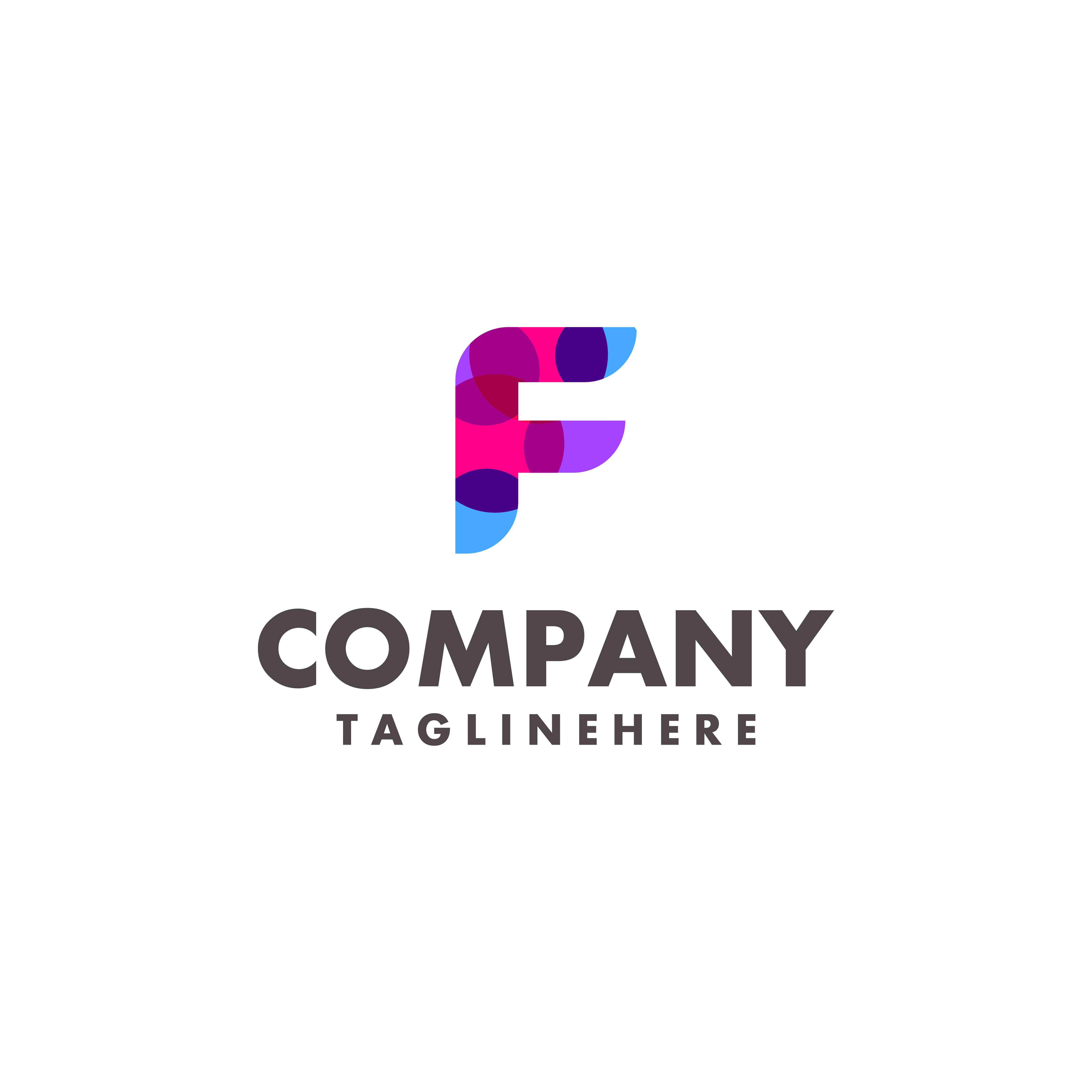 Abstract Colorful Letter F Logo Design For Business