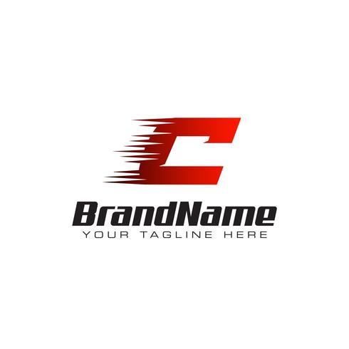 Letter Initial C Speed Logo Design Template