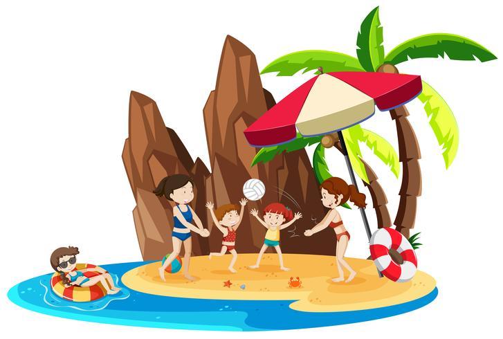 Girl on island vacation vector
