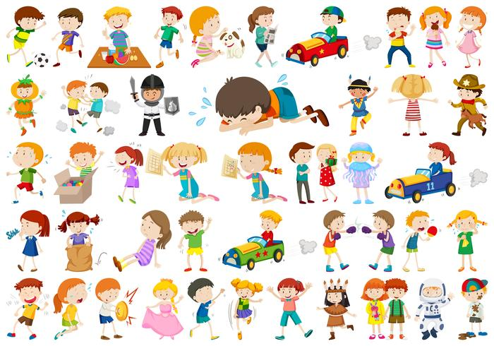 Large set of different kids vector