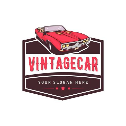 A template of classic or vintage or retro car logo design. vintage style