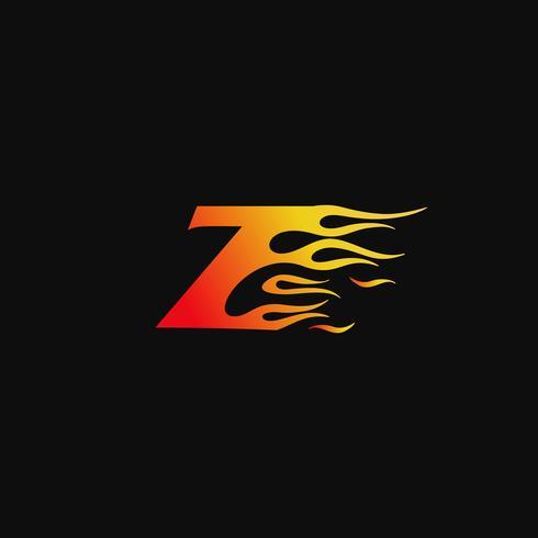 Buchstabe Z brennende Flamme Logo Entwurfsvorlage