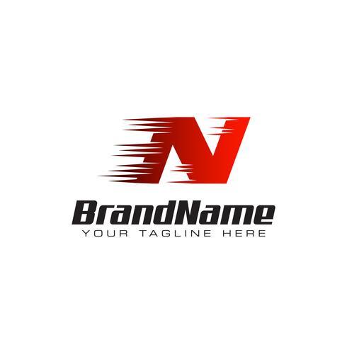 Letter Initial N Speed Logo Design Template vector