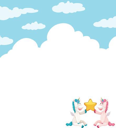 Unicorn on sky template vector