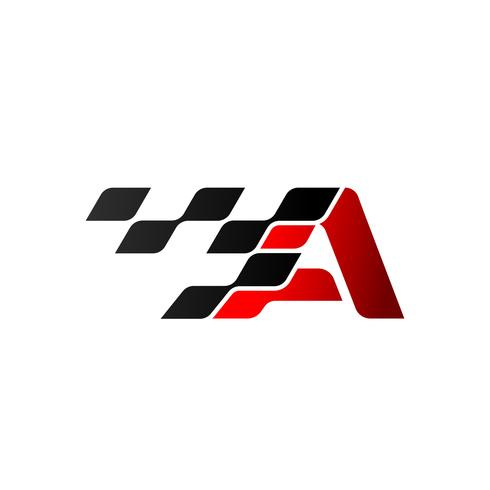 Letter A with racing flag logo vector