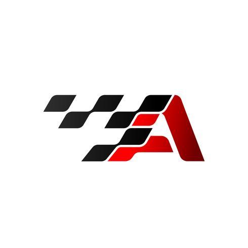 Lettre A avec logo drapeau de course vecteur