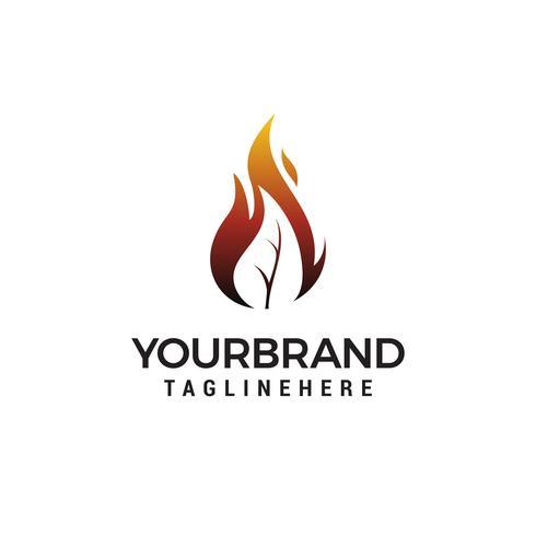 fuego hoja llama logo diseño vector