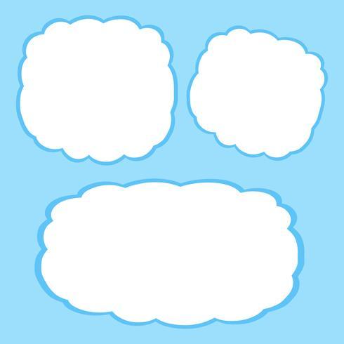 Modelo de quadro de nuvens em branco vetor