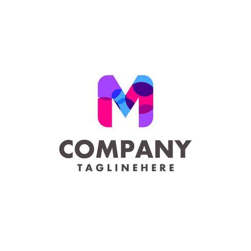 astratto colorato lettera M logo design per società di affari con il moderno colore al neon