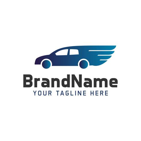 Logo car with wings. automobile logo template