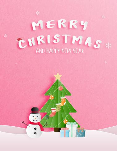 Christmas celebration and happy new year greeting or invitation card in paper cut style. vector