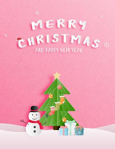 Julfirande och gott nytt år hälsning eller inbjudningskort i pappersskuren stil. vektor