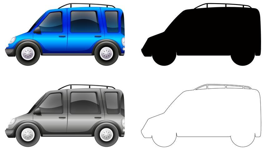 Set of blue car vector