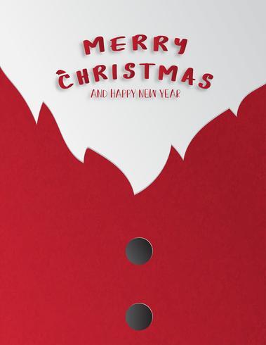 De viering van Kerstmis en de gelukkige nieuwe jaargroet of de uitnodigingskaart in document snijden stijl. Close-up van de kerstman pak.