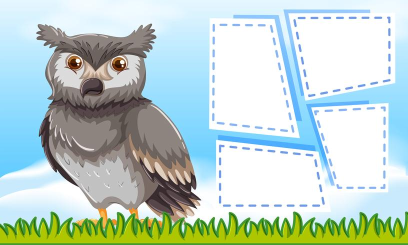 Owl on note template vector