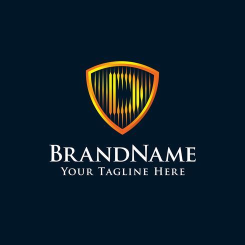 lettre initiale logo D bouclier avec couleur or vecteur