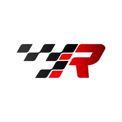 Buchstabe R mit Rennflaggen-Logo