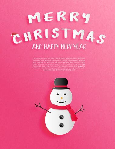 Carte de voeux ou d'invitation fête de Noël et bonne année en papier coupé style avec bonhomme de neige sourire heureux sur fond rouge. vecteur