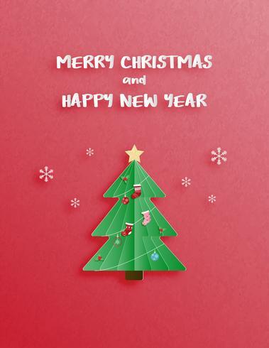 Celebração de Natal e feliz ano novo cartão de saudação ou convite em papel cortado estilo.