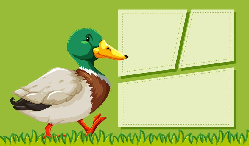 A duck on note template vector