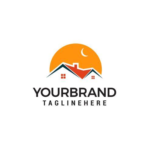 night building house logo template design
