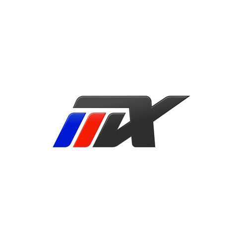 letter MX racing logo ontwerpsjabloon