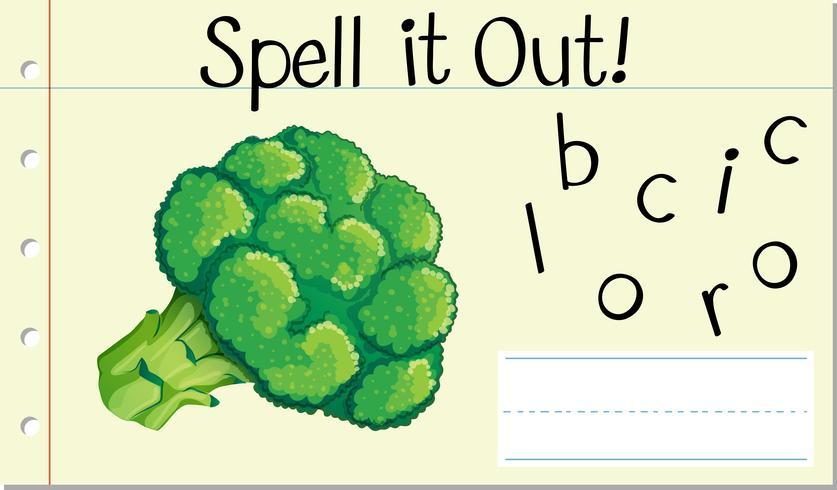 Spell English word broccoli vector