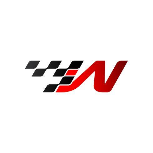 Letra W com logotipo de bandeira de corrida vetor