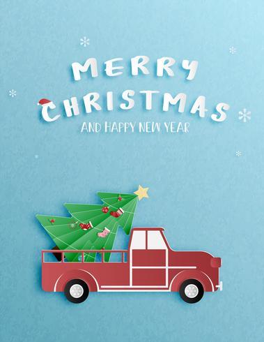 Celebrazione di Natale e felice anno nuovo auguri o invito in carta tagliata stile.