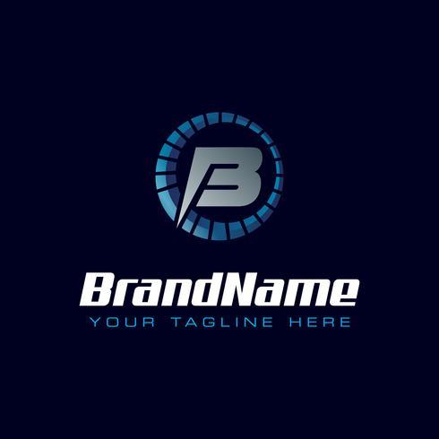 Letter B snelheidsmeter logo. Toerenteller snelheidslogo