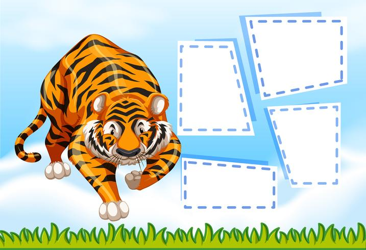 Tiger on note template vector