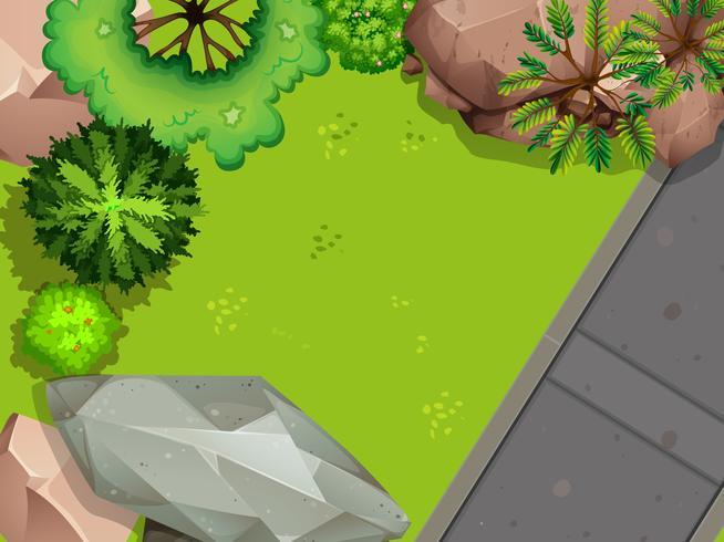 Aerial view of garden vector