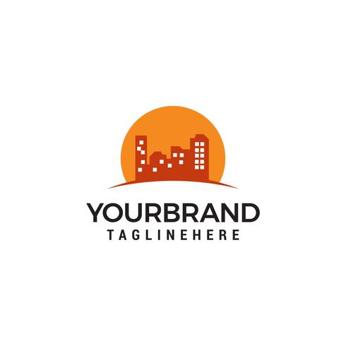 Plantilla de diseño de logotipo de Sun Building vector