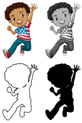 Set av afrikansk amerikan karaktär