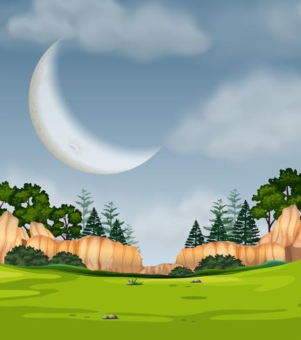 Full moon nature scene vector