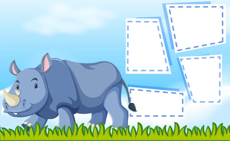 A rhinoceros on note template vector