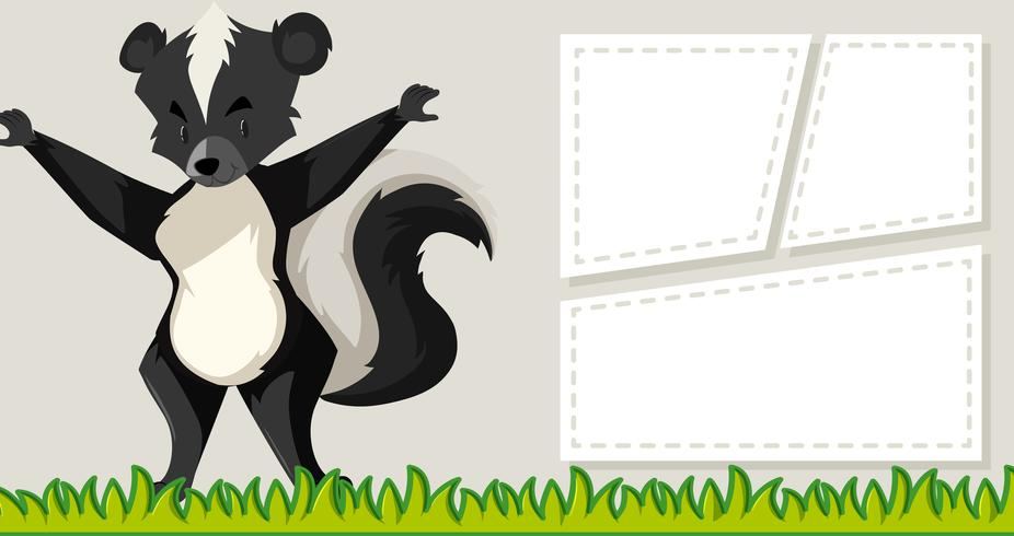 Skunk on note template vector