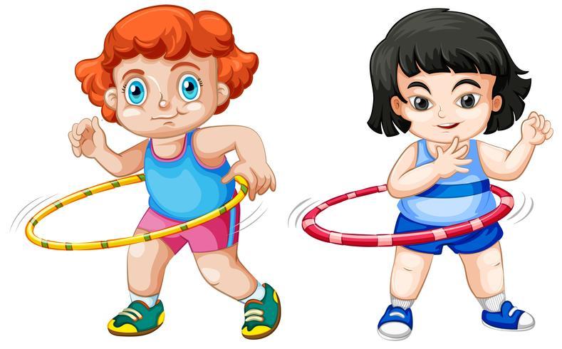 Set di bambini che giocano a hula hoop
