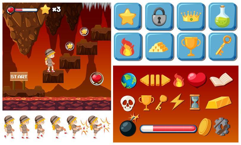 Adventure lava game template vector