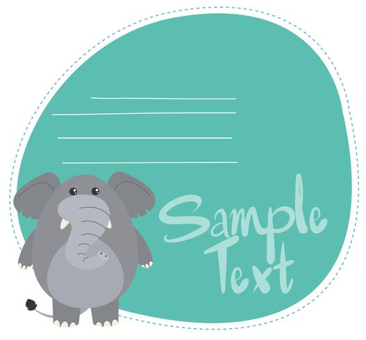 Animal on note template vector