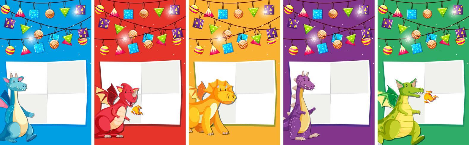 Set of dinosaur birthday invitation vector