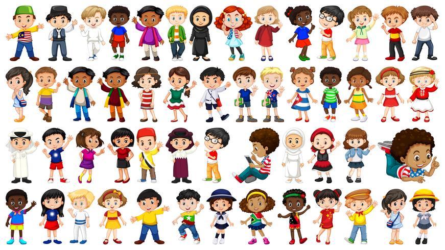 Set of international kids character vector