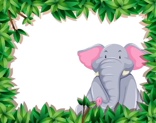 Elephant in nature frame vector