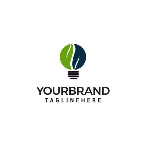 Logo d'idée ampoule avec modèle de conception symbole feuille verte vecteur