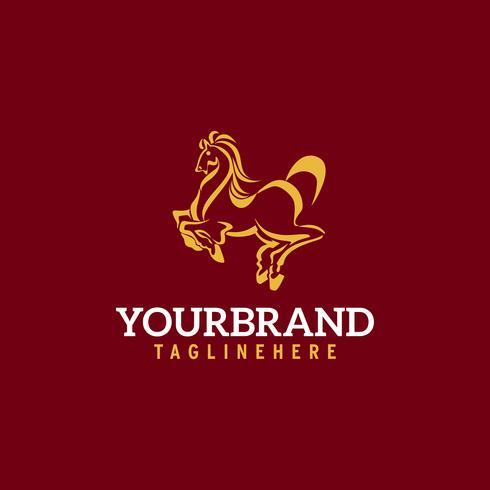 Logotipo del caballo. Estable, granja, valle, empresa, diseño del logotipo de la carrera.
