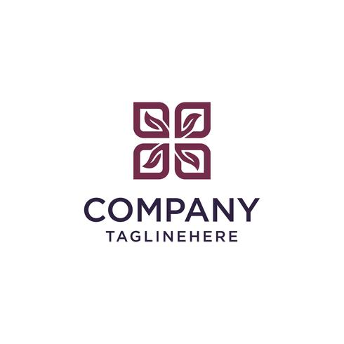 square leaf logo vector concept