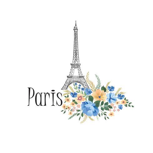 Paris background. Floral Paris sign with flowers, Eiffel tower.  vector